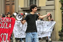 Étudiants en grève contre le gouvernement en Italie Images stock