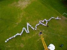 Étudiants en médecine se tenant sur l'herbe, faisant le diagramme vivant de coeur Photographie stock libre de droits