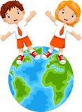 Étudiants et bande dessinée de globes Image stock