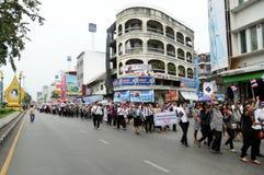 Étudiants et marche de citoyens. Été en désaccord avec la législation Thaïlande de l'amnistie du gouvernement Image libre de droits