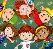 Étudiants et objets internationaux d'école illustration stock