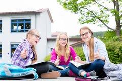 Étudiants faisant des devoirs pour l'école ensemble Images stock