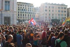 Étudiants italiens contre le gouvernement Photo stock