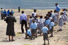 Étudiants locaux au lac Baringo, Kenya Images libres de droits