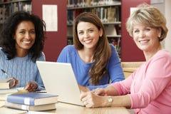 Étudiants mûrs travaillant dans la bibliothèque Photographie stock libre de droits