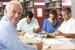 Étudiants mûrs travaillant dans la bibliothèque Photo libre de droits