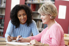 Étudiants mûrs travaillant dans la bibliothèque Photo stock