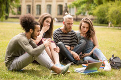 Étudiants s'asseyant sur la pelouse regardant dans l'ordinateur portable Images stock