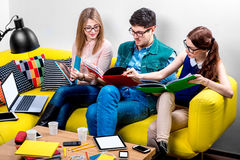 Étudiants travaillant au divan Photo libre de droits