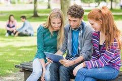 Étudiants universitaires à l'aide de la tablette dans le parc Photographie stock