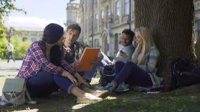 Étudiants universitaires ayant la discussion sous l'arbre sur le campus, se préparant aux examens banque de vidéos