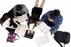 Étudiants universitaires divers discutant le travail Image libre de droits