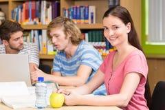 Étudiants universitaires faisant le travail dans la bibliothèque Photo libre de droits