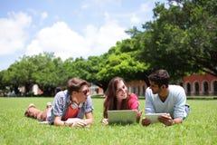 Étudiants universitaires heureux à l'aide de l'ordinateur Image libre de droits