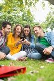 Étudiants universitaires heureux regardant le téléphone portable en parc Image libre de droits