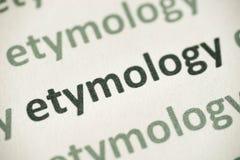 Étymologie de Word imprimée sur le macro de papier photo libre de droits