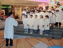 Événement caroling de réveillon de Noël dans le mail Hong Kong de domaine Photos libres de droits