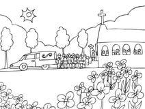 Événement de funérailles - noir et blanc illustration libre de droits