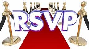 Événement de tapis rouge d'acronymes de Word de réservation de réservation de RSVP Photographie stock libre de droits