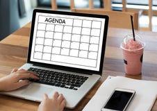 Événements de calendrier de l'information d'activité d'ordre du jour et Appointm de se réunir Photographie stock