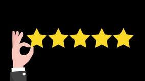 Évaluation de cinq étoiles Les pouces se lèvent avec le signe d'examen Fond vert illustration libre de droits