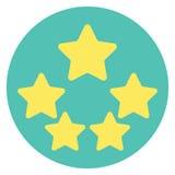 Évaluation de la qualité de produit de cinq étoiles avec la réflexion Photos libres de droits