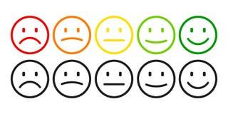 Évaluation par des émoticônes de négatif à l'émotion positive et réglée Grade, niveau de note de satisfaction illustration stock