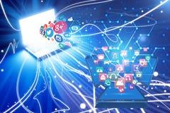 Évasion non protégée d'information privée au-dessus des réseaux sociaux illustration libre de droits