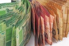 Éventée perception de billets de banque sud-africains Images stock