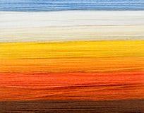 Éventail des fils colorés de laine Images stock