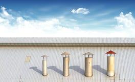 Évents et système de tuyau sur le toit d'un buil de hirise images stock