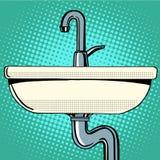Évier lavant avec de l'eau robinet Image stock