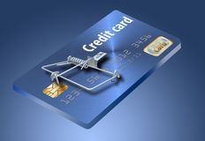 Évitez les pièges de carte de crédit, comme celui-ci qui ressemblent à une carte de crédit transformée en souricière à clapet photos stock