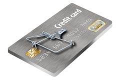 Évitez les pièges de carte de crédit, comme celui-ci qui ressemblent à une carte de crédit transformée en souricière à clapet image libre de droits