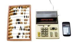 Évolution de calculatrice de vintage d'abaque de calcul et de GA moderne Image stock