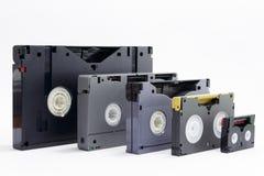 Évolution des cassettes vidéo de professionnels Images stock