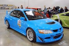 Évolution VIII de Mitsubishi Lancer dans l'expo 2012 de crocus Images libres de droits