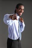 Éxito de la lucha del hombre de negocios del afroamericano Fotografía de archivo libre de regalías