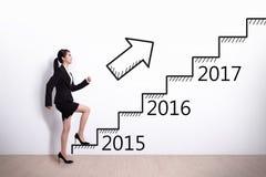 Éxito de la mujer de negocios en Año Nuevo Imagen de archivo libre de regalías