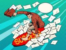 Éxito de la persona que practica surf del hombre de negocios ilustración del vector