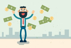 Éxito de las finanzas de Rich Business Man Throw Money Imagen de archivo libre de regalías