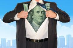 Éxito del dinero de Superhero Stock Market del hombre de negocios Imagen de archivo libre de regalías