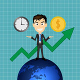 Éxito del hombre de negocios con tiempo y dinero Foto de archivo