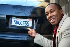 Éxito del hombre de negocios (matrícula ficticia) Fotos de archivo libres de regalías