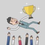 Éxito del hombre de negocios que es lanzado en el aire Imagen de archivo libre de regalías