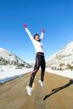 Éxito del invierno del corredor Foto de archivo libre de regalías