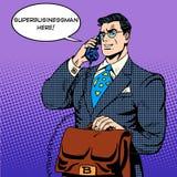Éxito del teléfono del héroe estupendo del hombre de negocios que habla stock de ilustración