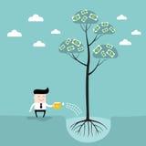 Éxito empresarial de riego del árbol del dinero del hombre de negocios Foto de archivo libre de regalías