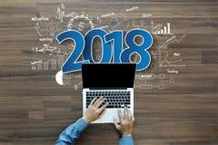 éxito empresarial del Año Nuevo 2018 Imagenes de archivo