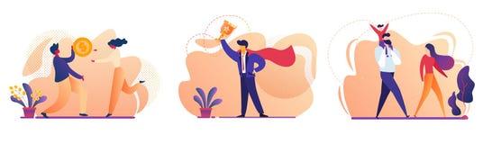 Éxito empresarial, familia, sistema del icono del dinero de la gente libre illustration